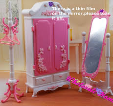 doll toy closet wardrob mirror clothes rack set dollhouse furniture puzzle toy diy barbie doll house furniture sets