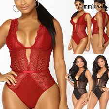 <b>S 2XL Women's</b> Sexy Lingerie Lace Deep <b>V</b> neck Red&Black ...