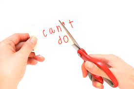 the psychology of job interviews challenge your negative female using scissors to remove the word can t to i can do it