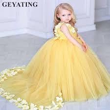 Yellow <b>Flowers</b> Kids Pageant <b>Evening Dress</b> 2019 Lace <b>Ball Gown</b> ...