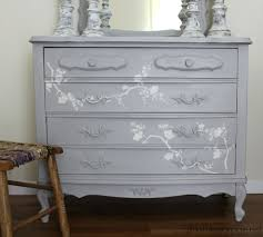 french provincial dresser makeover with chalk paint and cherry blossoms stencil chalk paint furniture