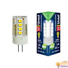 (UL-00006743) <b>Uniel G4 3W 4000K</b> прозрачная <b>LED</b>-<b>JC</b>-<b>220</b>/<b>3W</b> ...