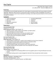 accounts payable specialist resume sample resume examples for accounting