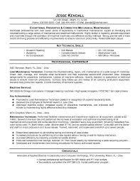 free maintenance technician resume example