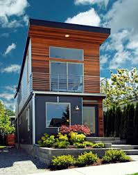 """The Skinny""""   A  Foot Wide House in Seattle    Living in DensityFront view showing depth of the house  The roof form and use of materials are"""