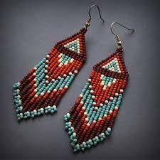 <b>Ethnic style earrings</b> Dangle seed bead <b>earrings</b> Brown <b>fashion</b> ...