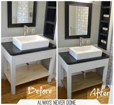 making bathroom cabinets: diy bathroom vanity always never done