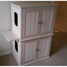 stacked double cat litter box cabinet with odor absorbing light cat litter box covers furniture