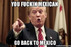 You fuckin mexican Go back to mexico - Donald Trump Says | Make a Meme via Relatably.com