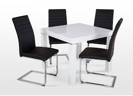 elegant square black mahogany dining table: high gloss white square dining table contemporary high gloss white dining table and four black