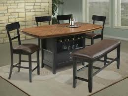 dining room pub style sets: pub style dining room with black finish solid pine wood high top kitchen table set laminate wood marble countertop and brown leather chairs bench seating