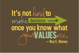 It's not hard to make decisions once you know what your values are. quote - Roy E. Disney