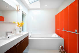 narrow bathroom sink bathroom midcentury with bathtub ceiling lighting floating bathroom sink lighting