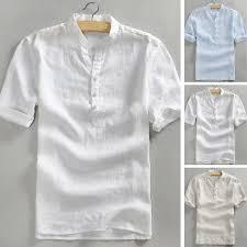DANSNOLO  Men's Baggy Solid Cotton Linen <b>Long Sleeve Button</b> ...