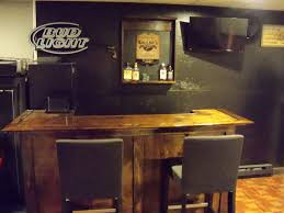 awesome home mini bar design with dark woden mini bar table along two black chair on built home bar cabinets tv