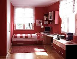bedroomchic small bedroom design with red painted wall and rectangle window and red fluffy chic small bedroom ideas