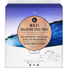 L. <b>Chlorine Free Maxi</b> Extra Long Overnight Pads With Wings - 20ct ...