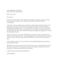 resignation letter format great example treasurer position great example treasurer position company board of directors resignation letter sample because of related criminal behavior