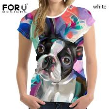 <b>FORUDESIGNS</b> Stylish Boston Terrier Printed Summer <b>Women's T</b> ...