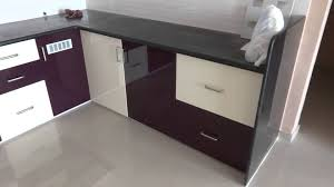 modular kitchen colors:  gloss purple and kream colour modular kitchen in bharuch youtube