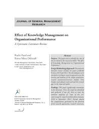 Journal of General Management Research Effect of Knowledge Management on Organizational Performance A Systematic Litera     SlideShare