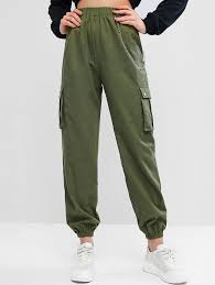Chain Flap Pockets Solid Jogger Pants ACU <b>CAMOUFLAGE</b> ARMY ...