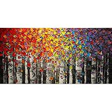 <b>HANDPAINTED</b> Landscape Abstract Palette Rainbow Birch Tree ...