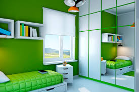 girls room playful bedroom furniture kids: vibrant playful green and white childs bedroom with built in closet and white floor