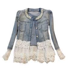 Women Spring Autumn Denim <b>Lace Edge</b> Stitching <b>Long Sleeve</b> ...