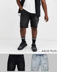 <b>Набор из двух</b> пар узких джинсовых шорт (<b>черный</b> выбеленный ...