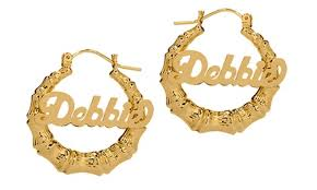 <b>Custom Name</b> Hoop <b>Earrings</b> in Bamboo or Embossed Design from ...