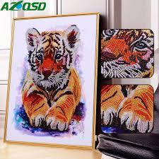 <b>AZQSD Diamond</b> Painting Tiger Full Kits Special Shaped <b>Diamond</b> ...