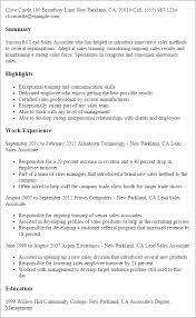Professional Lead Sales Associate Templates to Showcase Your     My Perfect Resume