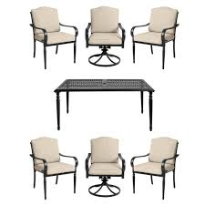 Laurel Oaks <b>7</b>-<b>Piece</b> Brown Steel Outdoor Patio <b>Dining Set</b> with ...