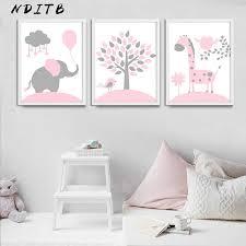 <b>Pink</b> Heart Elephant Canvas <b>Poster</b> Cartoon Nursery Wall Art Print ...
