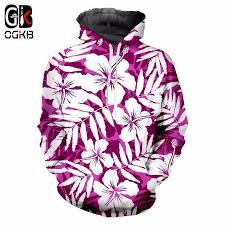 OGKB Purple <b>Flower Printed Sweatshirt</b> Men <b>Women Hoodies</b> ...