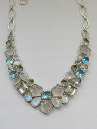 <b>Carved</b> Moonstone and <b>Green Amethyst</b> Quartz Necklace with Blue ...