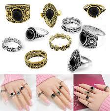 5pcs Retro Vintage Antique Girls Ring Sets <b>Natural</b> Black <b>Stone</b> ...