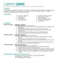 caregiver experience resume template caregiver experience resume