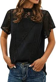 ZXZY Women Cute Lace Blouse Top Short Sleeve ... - Amazon.com