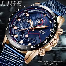 LIGE Fashion Mens Watches Top Brand Luxury WristWatch Quartz ...