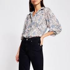 Silver <b>floral print long sleeve</b> chiffon shirt   River Island