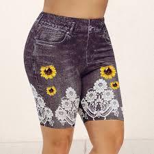 <b>Sfit</b> Daisy Print Leggings <b>Yoga Shorts</b> Spitze Patchwork Denim Sport ...