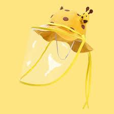 Giraffe Baby Bucket <b>Hat</b> with <b>Removable Face Shield</b> – Alex + Nova