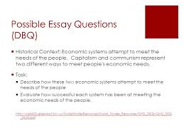 dbq essay on capitalism and communism   essay topicscapitalism vs communism essay  possible essay questions dbq historical context economic systems attempt to meet the
