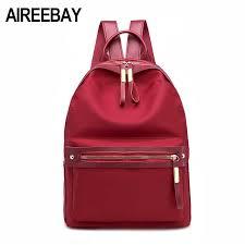 AIREEBAY Small <b>Waterproof Nylon</b> Women Backpack <b>Fashion</b> Red ...