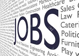 text of many job types and industries the word jobs in the stock photo text of many job types and industries the word jobs in the middle