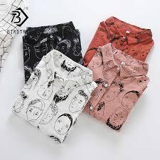 <b>2019 New Arrival</b> Face <b>Cartoon</b> Print Shirt Cotton Batwing Sleeve ...