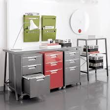 red gray stylish filing cabinets by cb2 grey tile floor office room green wall filling storage cb2 office
