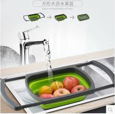 Retractable folding silicone drain basket plastic vegetable ... - Qoo10